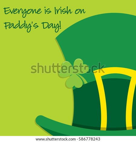 Leprechaun's hat St Patrick's Day card in vector format.