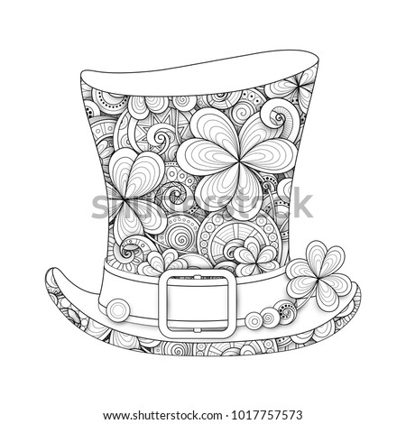 Leprechaun Vintage Top Hat Illustration. Monochrome Doodle St Patrick Day Symbol. Decorative Ornament with Clover Leaf, Abstract Coins and Swirl. Coloring Book Page. Vector 3d Ornate Drawing