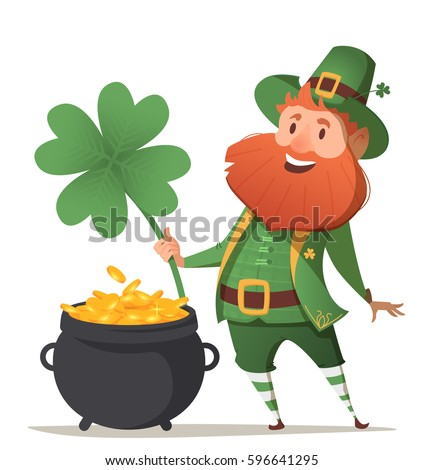 Leprechaun with a pot of gold and four leaf clover and luck. Illustration for St. Patrick's Day. Vector illustration.