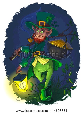 Leprechaun with smoking pipe and gold coin pot of Saint Patrick Day