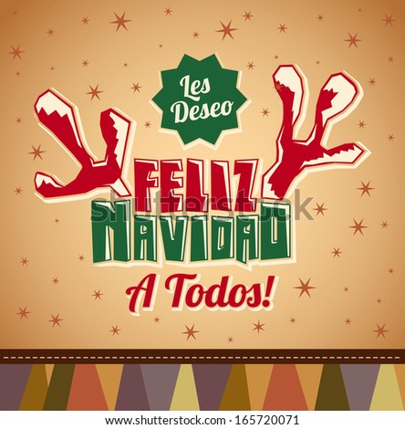 Les deseo Feliz Navidad a todos - I wish Merry Christmas to all spanish text - reindeer antlers christmas card - vector