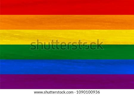 Lesbian, gay, bisexual, transgender LGBT pride flag. Rainbow flag. Gay and lesbian love. Watercolor imitation. Vector stock illustration