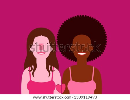 Lesbian multiethnic smiling couple portrait cartoon with heart tattoo isolated on background with space for text