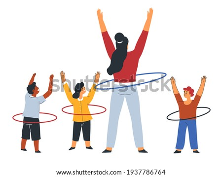 Lesson of physical education, teacher showing moves to children. Female character with hula hoop stretching hands up. PE classes for preschoolers or kindergarten establishment. Vector in flat style