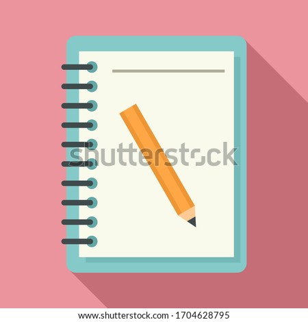 Lesson pencil notebook icon. Flat illustration of lesson pencil notebook vector icon for web design