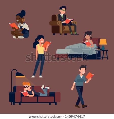 Let of vector flat style illustrations on book lovers with various people reading books in different poses and situations. People reading while standing, sitting and lying