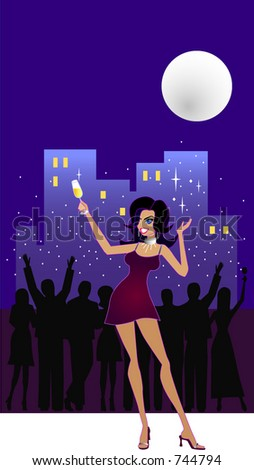 Let's Celebrate - A vector illustration of a happy woman raising her glass of champagne and partying under the full moon at an apartment balcony. A party crowd is throwing confetti & celebrating.