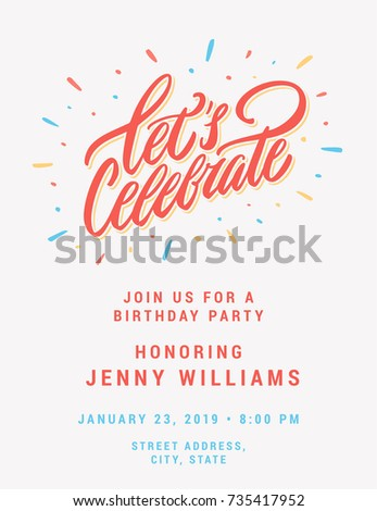 Let's celebrate. Invitation card template.