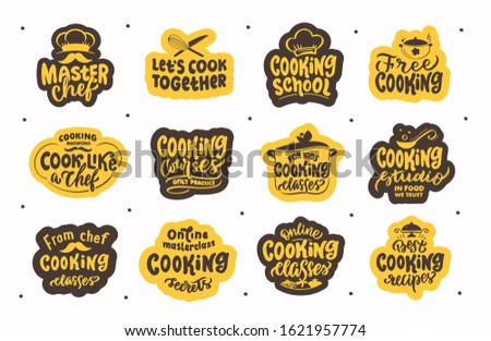 Let's cook, cooking. Set of vintage retro handmade badges, labels and logo elements, symbols, phrases, slogans for cooking school, sooking studio. Vector illustration. Stock fotó ©