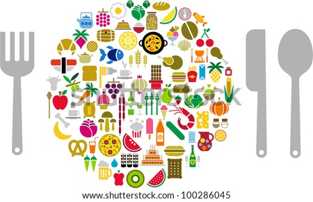Let's eat! Food and beverage icons in form of sphere with silverware.