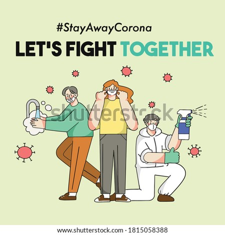 Let's Fight Corona Covid-19 Pandemic Together Concept Vector Illustration Asset Collection