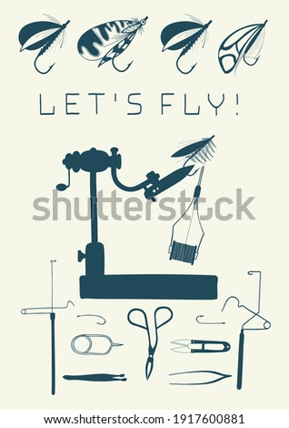 Let's fly! Set of tools for flies. Fly fishing. Hand drawn vector stock illustration.  Stock fotó ©