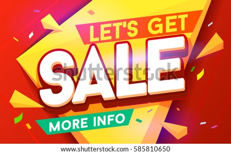 Let's get sale banner. Sale and discounts. Vector illustration - stock vector