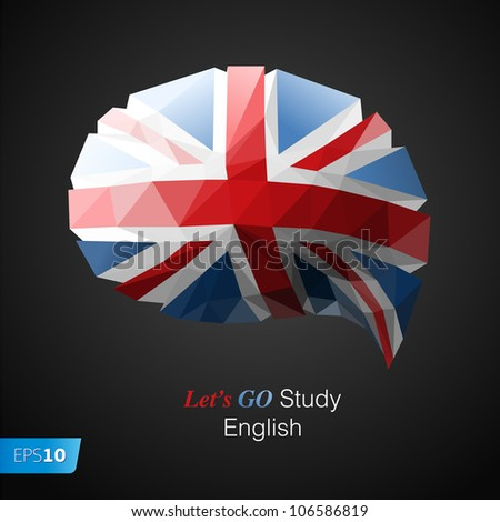 Let's go study English speech bubble background. Vector Eps10 illustration
