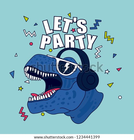 Let's party.Dinosaur character design.Cute drawing.Fun t-shirt design for kids.Vector illustration design for fashion fabrics, textile graphics, print.