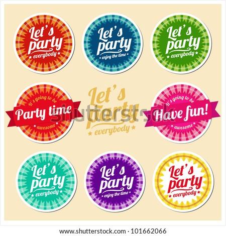 Let's party set of labels