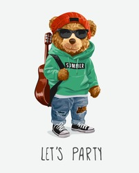 let's party slogan with cute bear toy in sunglasses carrying guitar illustration