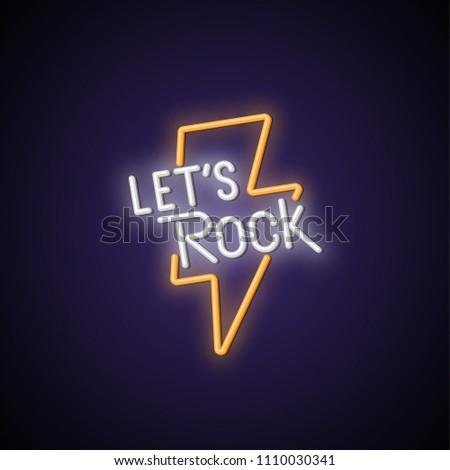 let's rock neon signboard