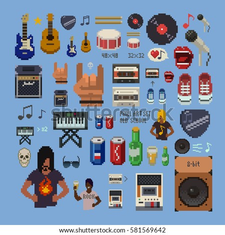 let's rock, retro set, abstract pixel art icons, musical instruments, vector illustration.