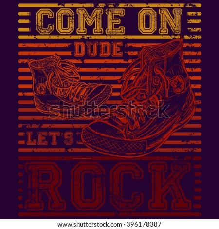 let's rock tee graphic design