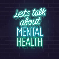 Let's talk about mental health neon typography. Isolated vector glowing handwritten lettering on brick wall background. Square illustration for social network, poster.