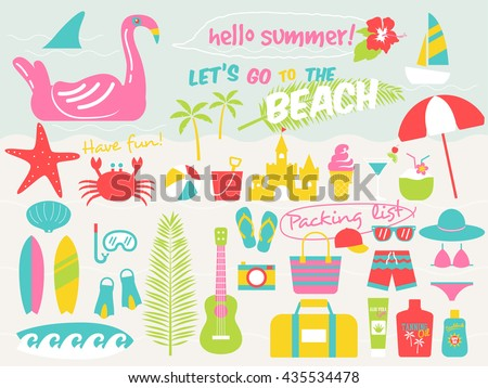 summer fun stuff free vector 4vector. Black Bedroom Furniture Sets. Home Design Ideas
