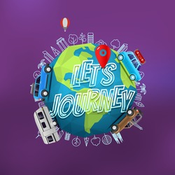 Lets journey concept. Vector logo with the Earth on blur background