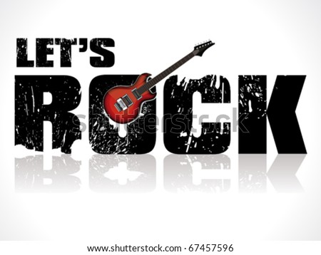 lets rock background with guitar vector illustration