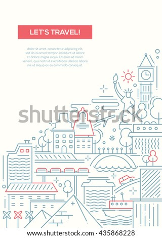 lets travel   vector line