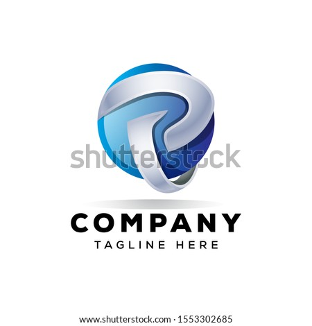 letted  p 3d logo design illustration for your company Stock fotó ©