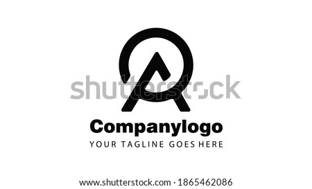 Letter A and Circle Minimalist Logo Design Photo stock ©