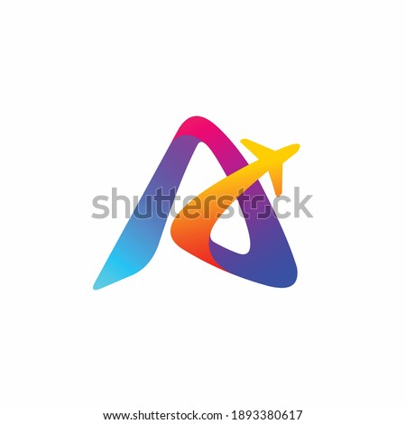 letter a  aviation logo design