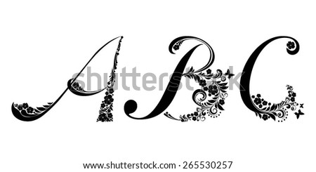 letter a b c isolated on white romantic letter of beautiful flowers