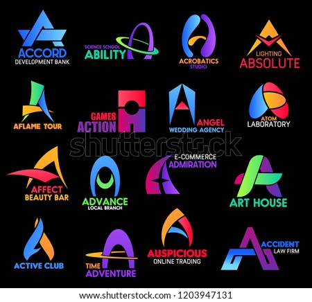 Letter A, business sand corporate identity icons. Accord and ability, acrobatics, aflame and action, angel and atom, affect and advance, admiration, active and adventure, auspicious or accident