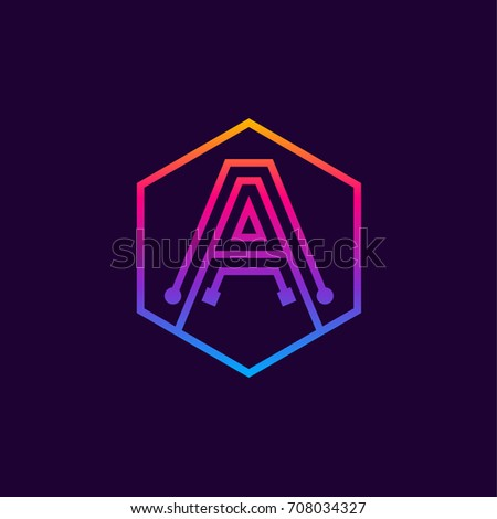 Letter A colorful, Dots logo, linear hexagon shape, Digital and Technology logotype for your Corporate identity