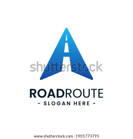 Letter A for road route logo design template. Concept of destination, address, position, travel, gps map, etc. Creative vector symbol highway.