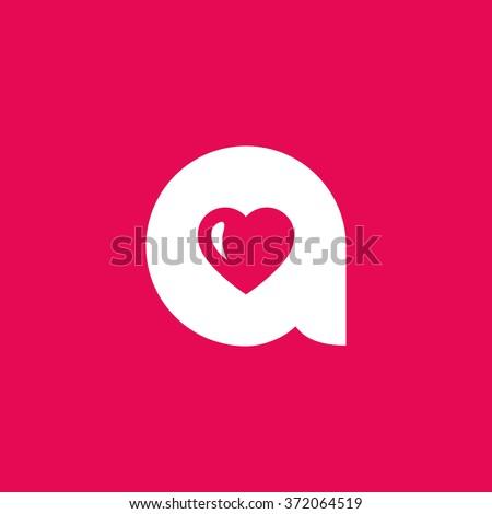 letter a heart logo icon design