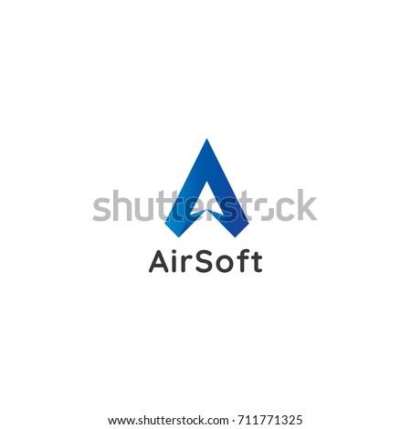 letter A logo. air arrow star design concept. creative apps logo.