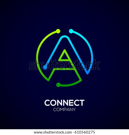 Letter A logo, Circle shape symbol, green and blue color, Technology and digital abstract dot connection
