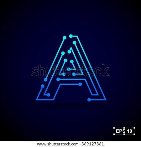 Letter A logo design template,Technology abstract dot connection cross vector logo icon circle logotype