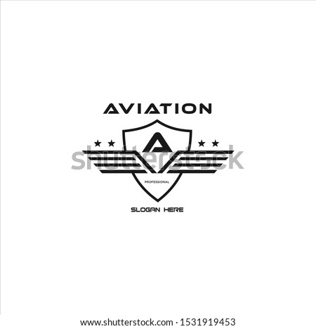 Letter A Shield Wings Logo . Wings Logo abstract design vector template Wings Logo.Aircraft Logo icon.Linear Flying Airlines Logotype.