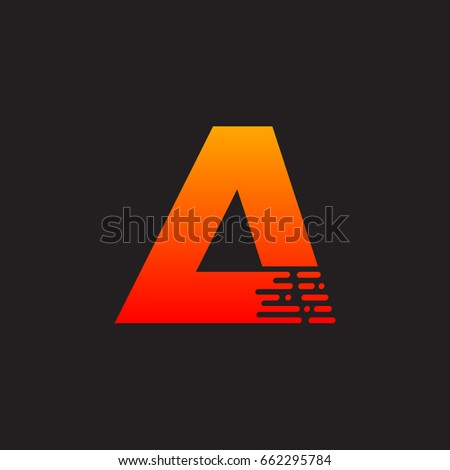 letter a with fast logo  speed