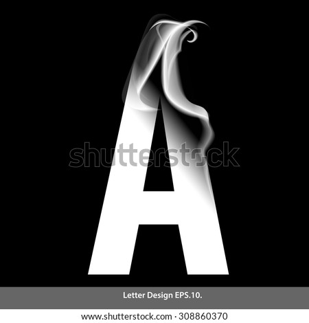 letter a with smoke waves
