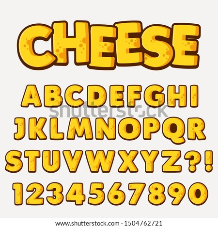 Letter Alphabet With Numbers Cheese Style Design