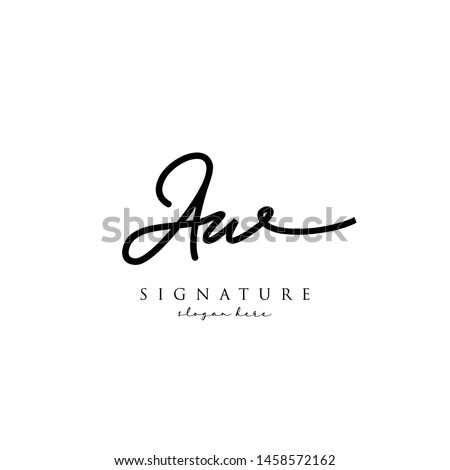 Letter AW Signature Logo Template - Vector