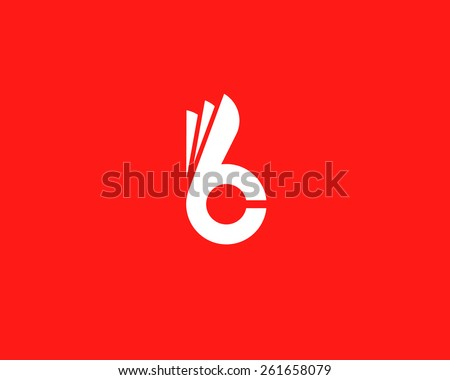 Letter B C fingers vector sign. Hand Ok symbol icon. Negative space idea logotype. Bunny rabbit  logo design template.
