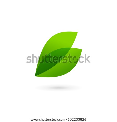 Letter B eco leaves logo icon design template elements