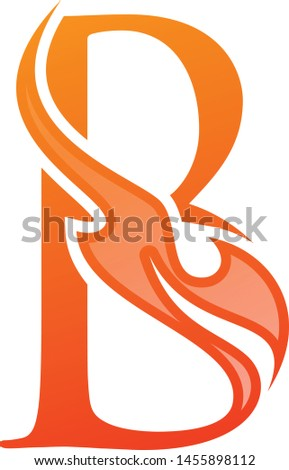 Letter B Fire life vector icon in abstract style. Fire icon isolated on white background. Vector illustration EPS.8 EPS.10
