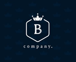 Letter B floral and crown logo. Graceful icon template. Royal style calligraphic beautiful logo. Vintage emblem for book design, brand name, business card, Restaurant, Boutique, Hotel, Wedding. Vector