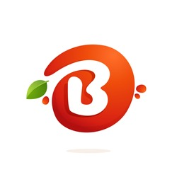 Letter B logo in fresh juice splash with green leaves. Vector elements for natural application, ecology presentation, business card or cafe posters.